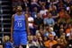 Apr 6, 2014; Phoenix, AZ, USA; Oklahoma City Thunder forward Kevin Durant reacts in the second half against the Phoenix Suns at US Airways Center. The Suns defeated the Thunder 122-115. Mandatory Credit: Mark J. Rebilas-USA TODAY Sports