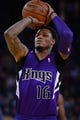 April 4, 2014; Oakland, CA, USA; Sacramento Kings guard Ben McLemore (16) shoots the ball against the Golden State Warriors during the first quarter at Oracle Arena. The Warriors defeated the Kings 102-69. Mandatory Credit: Kyle Terada-USA TODAY Sports