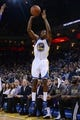 April 4, 2014; Oakland, CA, USA; Golden State Warriors guard Jordan Crawford (55) shoots the ball against the Sacramento Kings during the fourth quarter at Oracle Arena. The Warriors defeated the Kings 102-69. Mandatory Credit: Kyle Terada-USA TODAY Sports