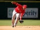 Apr 7, 2014; Houston, TX, USA; Los Angeles Angels shortstop Erick Aybar (2) fields a ground ball during the eighth inning against the Houston Astros at Minute Maid Park. Mandatory Credit: Andrew Richardson-USA TODAY Sports