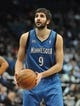 Apr 2, 2014; Minneapolis, MN, USA;  Minnesota Timberwolves guard Ricky Rubio (9) prepares for a free throw in the second half against the Memphis Grizzlies at Target Center. The Wolves defeated the Grizzlies 102-88.  Mandatory Credit: Marilyn Indahl-USA TODAY Sports
