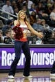 Apr 8, 2014; Atlanta, GA, USA; Atlanta Hawks cheerleader performs against the Detroit Pistons in the fourth quarter at Philips Arena. Mandatory Credit: Brett Davis-USA TODAY Sports