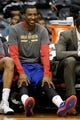 Apr 8, 2014; Atlanta, GA, USA; Detroit Pistons guard Kentavious Caldwell-Pope (5) shows emotion on the bench against the Atlanta Hawks in the fourth quarter at Philips Arena. The Pistons defeated the Hawks 102-95. Mandatory Credit: Brett Davis-USA TODAY Sports