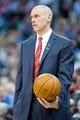 Apr 8, 2014; Salt Lake City, UT, USA; Dallas Mavericks head coach Rick Carlisle during the first half against the Utah Jazz at EnergySolutions Arena. Mandatory Credit: Russ Isabella-USA TODAY Sports