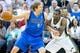 Apr 8, 2014; Salt Lake City, UT, USA; Utah Jazz forward Jeremy Evans (40) defends against Dallas Mavericks forward Dirk Nowitzki (41) during the second half at EnergySolutions Arena. The Mavericks won 95-83. Mandatory Credit: Russ Isabella-USA TODAY Sports