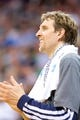 Apr 8, 2014; Salt Lake City, UT, USA; Dallas Mavericks forward Dirk Nowitzki (41) reacts from the bench during the second half against the Utah Jazz at EnergySolutions Arena. The Mavericks won 95-83. Mandatory Credit: Russ Isabella-USA TODAY Sports