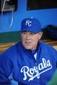 Apr 8, 2014; Kansas City, MO, USA; Kansas City Royals manager Ned Yost in the dugout before the game against the Tampa Bay Rays at Kauffman Stadium. Tampa Bay won the game 1-0. Mandatory Credit: John Rieger-USA TODAY Sports