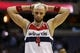 Apr 9, 2014; Washington, DC, USA; Washington Wizards center Marcin Gortat (4) reacts in the final seconds of overtime against the Charlotte Bobcats at Verizon Center. The Bobcats won 94-88 in overtime. Mandatory Credit: Geoff Burke-USA TODAY Sports