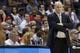 Apr 9, 2014; Washington, DC, USA; Charlotte Bobcats head coach Steve Clifford looks on from the bench against the Washington Wizards in the fourth quarter at Verizon Center. The Bobcats won 94-88 in overtime. Mandatory Credit: Geoff Burke-USA TODAY Sports