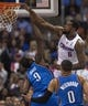 Apr 9, 2014; Los Angeles, CA, USA; Los Angeles Clippers center DeAndre Jordan (6) dunks the ball over Oklahoma City Thunder forward Serge Ibaka (9) during the second quarter at Staples Center. Mandatory Credit: Kelvin Kuo-USA TODAY Sports