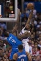 Apr 9, 2014; Los Angeles, CA, USA; Los Angeles Clippers center DeAndre Jordan (6) shoots the ball as Oklahoma City Thunder forward Serge Ibaka (9) defends during the second quarter at Staples Center. Mandatory Credit: Kelvin Kuo-USA TODAY Sports