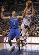 Apr 9, 2014; Los Angeles, CA, USA; Los Angeles Clippers forward Blake Griffin (32) shoots the ball in front of Oklahoma City Thunder center Steven Adams (12) during the third quarter at Staples Center. The Thunder won 107-101. Mandatory Credit: Kelvin Kuo-USA TODAY Sports