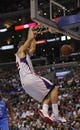 Apr 9, 2014; Los Angeles, CA, USA; Los Angeles Clippers forward Blake Griffin (32) dunks the ball against the Oklahoma City Thunder during the fourth quarter at Staples Center. The Thunder won 107-101. Mandatory Credit: Kelvin Kuo-USA TODAY Sports