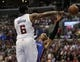 Apr 9, 2014; Los Angeles, CA, USA; Los Angeles Clippers center DeAndre Jordan (6) blocks a shot by Oklahoma City Thunder guard Russell Westbrook (R) during the second quarter at Staples Center. Mandatory Credit: Kelvin Kuo-USA TODAY Sports