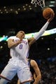 Apr 11, 2014; Oklahoma City, OK, USA; Oklahoma City Thunder guard Russell Westbrook (0) drives to the basket against the New Orleans Pelicans during the second quarter  at Chesapeake Energy Arena. Mandatory Credit: Mark D. Smith-USA TODAY Sports