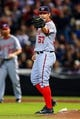 Apr 11, 2014; Atlanta, GA, USA; Washington Nationals starting pitcher Tanner Roark (57) celebrates a double play in the fifth inning against the Atlanta Braves at Turner Field. Mandatory Credit: Daniel Shirey-USA TODAY Sports