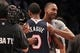 Apr 11, 2014; Brooklyn, NY, USA; Atlanta Hawks point guard Jeff Teague (0) hugs Brooklyn Nets point guard Marquis Teague (12) after a game at Barclays Center. The Hawks defeated the Nets 93-88. Mandatory Credit: Brad Penner-USA TODAY Sports