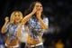 Apr 11, 2014; Oklahoma City, OK, USA;  Members of the Oklahoma City Thunder dance team entertain the fans in a break in action against the New Orleans Pelicans at Chesapeake Energy Arena. Mandatory Credit: Mark D. Smith-USA TODAY Sports