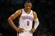Apr 11, 2014; Oklahoma City, OK, USA; Oklahoma City Thunder guard Russell Westbrook (0) reacts to a play in action against the New Orleans Pelicans during the third quarter  at Chesapeake Energy Arena. Mandatory Credit: Mark D. Smith-USA TODAY Sports