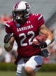 Apr 12, 2014; Columbia, SC, USA; South Carolina Gamecocks tailback Brandon Wilds (22) runs with the ball during the first half of the South Carolina spring game at Williams-Brice Stadium. Mandatory Credit: Joshua S. Kelly-USA TODAY Sports