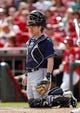 Apr 12, 2014; Cincinnati, OH, USA; Tampa Bay Rays catcher Ryan Hanigan (24) during the ninth inning against the Cincinnati Reds at Great American Ball Park. Tampa defeated Cincinnati 1-0. Mandatory Credit: Frank Victores-USA TODAY Sports