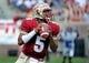 Apr 12, 2014; Tallahassee, FL, USA; Florida State Seminoles quarterback Jameis Winston (5) looks to throw the ball during the spring game at Doak Campbell Stadium. Mandatory Credit: Melina Vastola-USA TODAY Sports