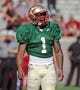 Apr 12, 2014; Tallahassee, FL, USA; Florida State Seminoles defensive back Tyler Hunter (1) during the spring game at Doak Campbell Stadium. Mandatory Credit: Melina Vastola-USA TODAY Sports
