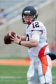 Apr 12, 2014; Champaign, IL, USA; Illinois Fighting Illini quarterback Wes Lunt looks to pass the ball during the second quarter of the spring game at Memorial Stadium. Mandatory Credit: Bradley Leeb-USA TODAY Sports