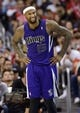 Apr 12, 2014; Los Angeles, CA, USA; Sacramento Kings center DeMarcus Cousins (15) reacts after being given a foul against the Los Angeles Clippers during the fourth quarter at Staples Center. The Los Angeles Clippers won 117-101. Mandatory Credit: Kelvin Kuo-USA TODAY Sports