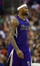 Apr 12, 2014; Los Angeles, CA, USA; Sacramento Kings center DeMarcus Cousins reacts after a foul is called during the game against the Los Angeles Clippers during the fourth quarter at Staples Center. The Los Angeles Clippers won 117-101. Mandatory Credit: Kelvin Kuo-USA TODAY Sports