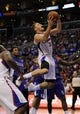 Apr 12, 2014; Los Angeles, CA, USA; Los Angeles Clippers forward Blake Griffin (32) is fouled as he goes up for a shot against the Sacramento Kings during the third quarter at Staples Center. The Los Angeles Clippers won 117-101. Mandatory Credit: Kelvin Kuo-USA TODAY Sports