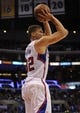 Apr 12, 2014; Los Angeles, CA, USA; Los Angeles Clippers forward Blake Griffin (32) attempts a shot against the Sacramento Kings during the third quarter at Staples Center. The Los Angeles Clippers won 117-101. Mandatory Credit: Kelvin Kuo-USA TODAY Sports