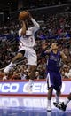 Apr 12, 2014; Los Angeles, CA, USA; Los Angeles Clippers guard Chris Paul (3) attempts a shot in front of Sacramento Kings guard Ray McCallum (3) during the third quarter at Staples Center. The Los Angeles Clippers won 117-101. Mandatory Credit: Kelvin Kuo-USA TODAY Sports