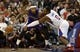 Apr 12, 2014; Los Angeles, CA, USA; Los Angeles Clippers forward Glen Davis (0) knocks the ball loose from Sacramento Kings center DeMarcus Cousins (15) during the third quarter at Staples Center. The Los Angeles Clippers won 117-101. Mandatory Credit: Kelvin Kuo-USA TODAY Sports
