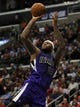 Apr 12, 2014; Los Angeles, CA, USA; Sacramento Kings center DeMarcus Cousins (15) attempts a shot against the Los Angeles Clippers during the second quarter at Staples Center. Mandatory Credit: Kelvin Kuo-USA TODAY Sports