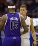 Apr 12, 2014; Los Angeles, CA, USA; Los Angeles Clippers forward Blake Griffin (32) shakes hands with Sacramento Kings center DeMarcus Cousins (15) before the game at Staples Center. Mandatory Credit: Kelvin Kuo-USA TODAY Sports