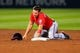 Apr 12, 2014; Atlanta, GA, USA; Washington Nationals third baseman Ryan Zimmerman (11) reacts to being picked off in the fifth inning against the Atlanta Braves at Turner Field. Mandatory Credit: Daniel Shirey-USA TODAY Sports