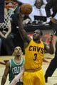 Apr 12, 2014; Cleveland, OH, USA; Cleveland Cavaliers guard Dion Waiters (3) drives against Boston Celtics guard Phil Pressey (26) in the second quarter at Quicken Loans Arena. Mandatory Credit: David Richard-USA TODAY Sports