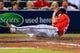 Apr 12, 2014; Atlanta, GA, USA; Washington Nationals shortstop Ian Desmond (20) scores a run on a passed ball in the sixth inning against the Atlanta Braves at Turner Field. Mandatory Credit: Daniel Shirey-USA TODAY Sports