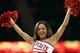 Apr 12, 2014; Houston, TX, USA; Houston Rockets cheerleader performs during the first half against the New Orleans Pelicans at Toyota Center. Mandatory Credit: Soobum Im-USA TODAY Sports