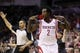 Apr 12, 2014; Houston, TX, USA; Houston Rockets guard Patrick Beverley (2) reacts after a shot during the second half against the New Orleans Pelicans at Toyota Center. The Rockets won 111-104. Mandatory Credit: Soobum Im-USA TODAY Sports