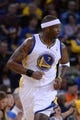 Apr 6, 2014; Oakland, CA, USA; Golden State Warriors center Jermaine O'Neal (7) jogs down the court against the Utah Jazz during the third quarter at Oracle Arena. The Warriors defeated the Jazz 130-102. Mandatory Credit: Kyle Terada-USA TODAY Sports
