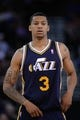 Apr 6, 2014; Oakland, CA, USA; Utah Jazz guard Trey Burke (3) looks on against the Golden State Warriors during the third quarter at Oracle Arena. The Warriors defeated the Jazz 130-102. Mandatory Credit: Kyle Terada-USA TODAY Sports