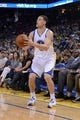 Apr 6, 2014; Oakland, CA, USA; Golden State Warriors guard Klay Thompson (11) shoots the ball against the Utah Jazz during the second quarter at Oracle Arena. The Warriors defeated the Jazz 130-102. Mandatory Credit: Kyle Terada-USA TODAY Sports