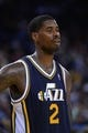 Apr 6, 2014; Oakland, CA, USA; Utah Jazz forward Marvin Williams (2) looks on against the Golden State Warriors during the third quarter at Oracle Arena. The Warriors defeated the Jazz 130-102. Mandatory Credit: Kyle Terada-USA TODAY Sports