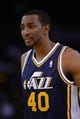 Apr 6, 2014; Oakland, CA, USA; Utah Jazz forward Jeremy Evans (40) looks on against the Golden State Warriors during the third quarter at Oracle Arena. The Warriors defeated the Jazz 130-102. Mandatory Credit: Kyle Terada-USA TODAY Sports