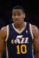Apr 6, 2014; Oakland, CA, USA; Utah Jazz guard Alec Burks (10) looks on against the Golden State Warriors during the third quarter at Oracle Arena. The Warriors defeated the Jazz 130-102. Mandatory Credit: Kyle Terada-USA TODAY Sports