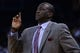 Apr 6, 2014; Oakland, CA, USA; Utah Jazz head coach Tyrone Corbin instructs against the Golden State Warriors during the fourth quarter at Oracle Arena. The Warriors defeated the Jazz 130-102. Mandatory Credit: Kyle Terada-USA TODAY Sports