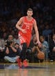Apr 8, 2014; Los Angeles, CA, USA; Houston Rockets forward Chandler Parsons (25) dribbles the ball against the Los Angeles Lakers at Staples Center. Mandatory Credit: Kirby Lee-USA TODAY Sports
