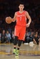 Apr 8, 2014; Los Angeles, CA, USA; Houston Rockets guard Jeremy Lin (7) dribbles the ball against the Los Angeles Lakers at Staples Center. Mandatory Credit: Kirby Lee-USA TODAY Sports